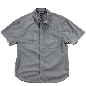 Black Diamond Equipment Chambray Modernist Shirt Mens Large Gray Short Sleeve