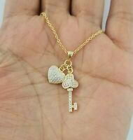 14K Yellow Gold Diamond Heart & Key Pendant Necklace