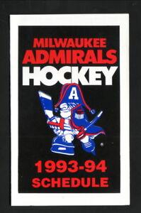 Milwaukee Admirals--1993-94 Pocket Schedule--Allen Edmonds Shoe Bank