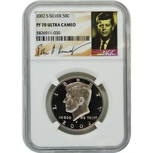 2002-S Proof Silver Kennedy NGC PF70 Ultra Cameo Kennedy Signature Label