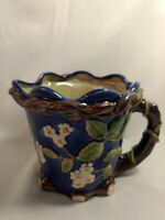 Vintage Porcelain Vase Pitcher Planter Blue Flowers Vine Italian (?)