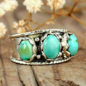 Fashion Women  Mens 925 Silver Retro Turquoise Ring Party Jewelry Gift Size 6-13
