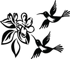 2 Humming Birds with flower vinyl wall decal