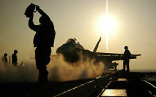 Framed Print - Aircraft Crew Working on an Aircraft Carrier (Picture Poster Jet)