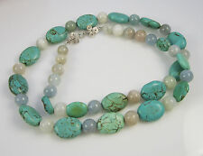 Vintage Estate Sterling Silver Gray Moonstone Turquoise 26 Inch Bead Necklace