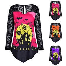 Damen Langarm Pullover Halloween T-Shirt Spitzen Bluse Tunika Longtop Longshirt