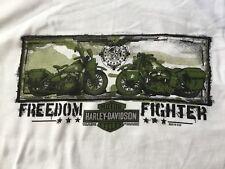 Harley Davidson Freedom Fighter Military Inspired White Shirt Nwt Men's Large