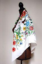 New AUTHENTIC Gucci White Flora Multicolor Silk Square Scarf