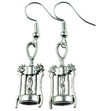 Tfb - Wine Bar Corkscrew Dangle Earrings Drop Cute Retro Fun Drink Bottle Party