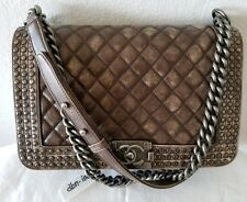 Auth Chanel medium Le Boy brown studs limited edition