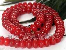 """Pretty Red 5x8mm Natural Jade Gemstone Abacus Loose Beads Strand 15"""""""