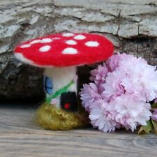 Needle felted Mushroom Fairy house Hand made  gnome home hobbit house
