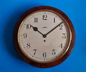 #021 1940s SMITHS EMPIRE BAKELITE AND WOOD 8 DAY PLATFORM MOVEMENT WALL CLOCK