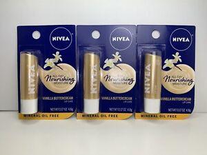 3 Nivea Lip Care, Vanilla Buttercream, Shea Butter, All-Day Nourishing Moisture
