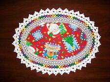 New Handmade Oval Crochet Doily: Whimscal Christmas/Santa/Reindeer/Tree/Lights