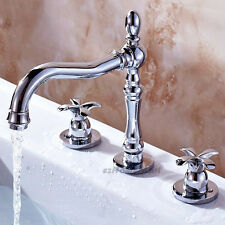 Modern Flower Dual Cross Handle Bathroom Monobloc Basin Mixer Tap Faucet 3 Hole