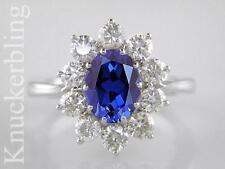 Blue Sapphire & F VS Diamond Ring: 2.50ct, 18ct White Gold Engagement Ring