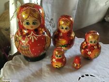 Vintage Russian Dolls Hand Painted Rotund Set Of 5