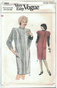 Very Easy Vogue 8854 Band Collar Dress w/ Shoulder Flange Pattern Choose Size UC