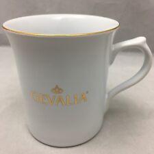 "Gevalia Coffee Mug Gold Logo Rim Handle White Ceramic Cup Advertising 3 7/8"""