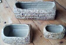3 X Vintage Vitry Ware Moira Pottery England Log Style Planters 3 sizes