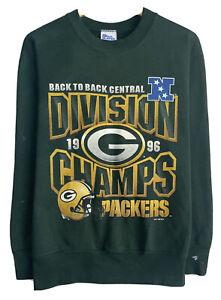Vtg Green Bay Packers '96 Division Champs Pro Player Men's Sz M Green Sweatshirt