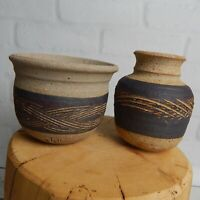 Lot of 2 Hand Thrown Etched Signed AM Clay Art Pottery Bud Vase Pot Urn Rustic