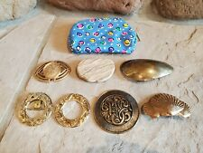 Vintage Lot of 7 Women's Belt Buckles Brass and stone with case