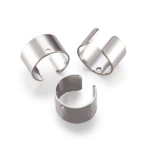20x Platinum Tone Brass Cuff Earring Findings Half Round Lead Free Earcuff 10mm