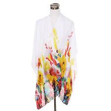 Elegant Chiffon Floral Sheer Kimono Wrap Cardigan Beach Cover Up