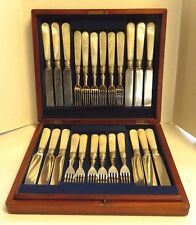 Antique Silver Plated Mother of Pearl 12 Forks & 12 Knives in Mahogany Wood Case
