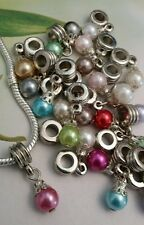 20 Pearly Coloured Ball Dangle Charm Beads - Fits  Bracelet
