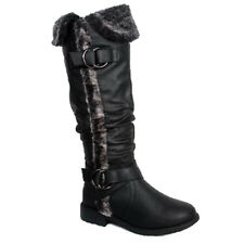 KNEE HIGH STILETTO WOMEN RIDDING HIGH HEEL WEDGE FUR COMBAT BUCKLE SHOE BOOT