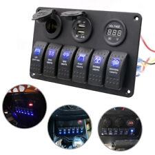 6Gang LED Schaltpanel Schalter Voltmeter +USB12V-24V Schalttafel Bus Marine Boot