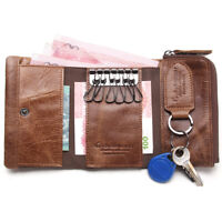 Mens Genuine Leather Car Key Case Coin Trifold Wallet ID Card Cash 6 Keys Holder