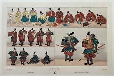 Racinet Lithographie 1888 Costume Japon Samourai archer