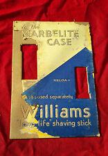 1950's VINTAGE WILLIAMS SHAVING STICKS IN MARBELITE CASE PAPER ADV. SIGN BOARD