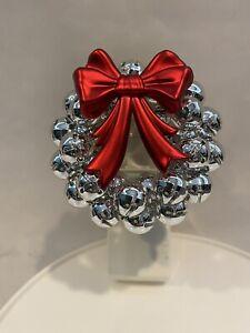 Bath & Body Works Wallflower Christmas Wreath Silver Jingle Red Bow Holiday EUC