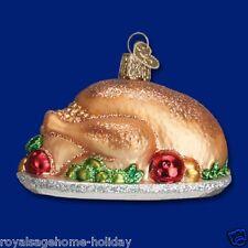 32201 OWC Turkey Platter Glass Christmas Ornament Decoration Thanksgiving Dinner