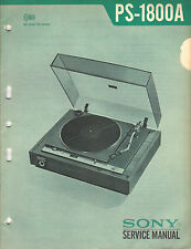 Sony PS 1800A Service Manual turntable record player Original Repair Book
