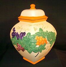 Nonnis Handmade Biscotti Cookie Jar Ceramic Large Lidded Grapes Ornate