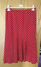 NWT MONA LISA RED & WHITE SPOTTED STRETCH JERSEY CALF LENGTH SKIRT 18-20 RRP £75