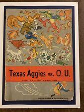 1950 Texas Aggies vs Oklahoma Sooners football program/BILLY VESSELS/YALE LARY!!