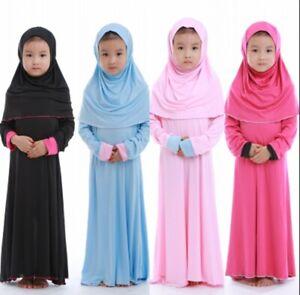 Muslim Kids Girls Prayer Dress Hijab Abaya Robe Arab Dubai Kaftan Headscarf Gown