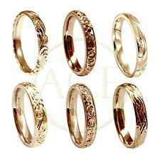 9ct Rose Red Gold 3mm Wedding Rings Vintage Style Court Comfort NEW UK HM Bands