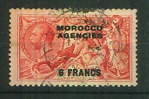 "Morocco Agencies 1932 KGV ""Seahorses"" 6f on 5s rose-red (Bradbury) VFU. SG 201."