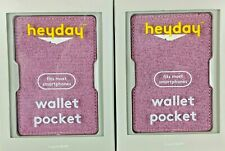 Lot of 2 Heyday Wallet Pocket Fits Most Smartphones Holds 3 Cards Pink New