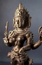 Hindu Goddess Kali Bhairavi Puja Statue Figure Handfinished Charcoal Black #KBH