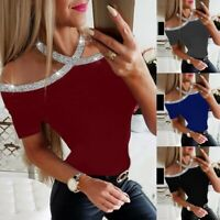 Womens Bling Beads Cold Shoulder Tops Ladies Fit Slim Long Sleeve Blouse T-shirt