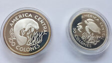 Proof silver coins RARE Costa Rican Conser'n 50/100  Colones Turtle/Manatee1974